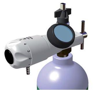 Reduktor medyczny  z wejściem PIN INDEX wyposażony w manometr oraz przepływomierz