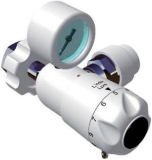 Reduktor do tlenu medycznego i powietrza wyposażony w regulacje przepływu